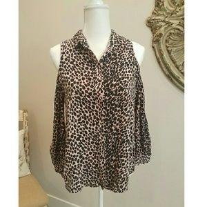 TOPSHOP cold shoulder leopard print top